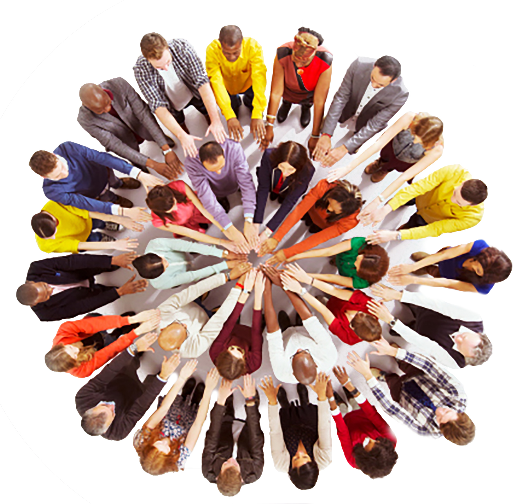 Business people touching hands in huddle